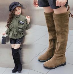 Wholesale Wholesale Thigh High Boots - Girl Boots Knee Elastic Long Boots Girls Flock Kids High Thigh Boot Children Brand Black Khaki Plush Shoes