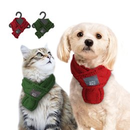 Wholesale White Dog Bow Tie - Warm Winter Pet Dog Scarves Small Puppy Chihuahua Yorkie Bow Tie Dogs Collars Cat Christmas Scarf Grooming Accessories For Pets