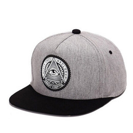 Wholesale Snapback Plastics - Classic 5 panels cotton snapback 3d god eyes plastic patch mens flat brim baseball cap hip hop hat and cap for men and women