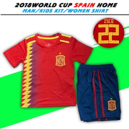 Wholesale spain soccer jersey kids - 2018 Spain Kids Kit Soccer Jersey Spain soccer home red 2018 world cup boys Football Children uniforms RAMOS #22 ISCO #6 A.INIESTA