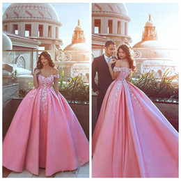 couture ball Coupons - 2019 Off Shoulder Satin Ball Gown Prom Dresses Floral Appliques Short Sleeves Formal Party Dress Custom Online Couture Evening Gowns