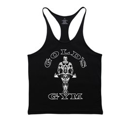 Wholesale Muscle Shirts For Men - Gymwear Fitness Men 2018 Muscle Shirt Male Vest Workout Clothes For Men Cotton Mens Bodybuilding Stringer Casual Sportswear Gold