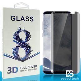 Blendschutzfolie online-Für Samsung Galaxy S9 S8 Plus Note8 Datenschutz Temered Glass Anti Spy Blendschutzglas Displayschutzfolie für S7 S6 Edge