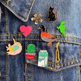 Nuevo Gato Verde Hombre Unicornio Flor del Corazón Broche Pins Solapa Insignia Joyería de Moda para Mujeres Hombres Niños Regalo de Navidad Nave de Gota desde fabricantes