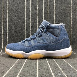 Wholesale Jeans Shoes Boots - 2018LEVIS Air 11 Retro Le NRG Basketball Boots DENIM VOILE ROUGE JEU Real Carbon Fiber Basketbol Shoes High Top Jeans Sneakers Basketball