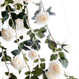 2019 hängende strings blumen Blumenschnur Künstliche Rattan Blumen Gefälschte Seide Rose Ivy Hanging Vine Garland für Herbst Hochzeit Dekoration Party Festival Kränze 180 cm rabatt hängende strings blumen