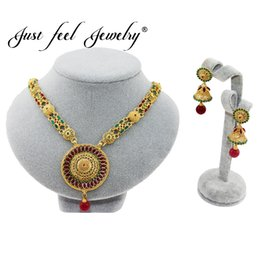 Wholesale vintage jewelry india - JUST FEEL Vintage 2pcs Nigerian African India Turkey Jewelry Sets Fashion Dubai Gold Color Round Flowers Jewelry Set Wholesale