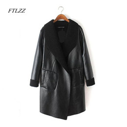 Wholesale Two Button Leather Jacket - Wholesale-2017 Autumn Winter Big Size Fashion New Lapel Two Sides Wear Clothes Lambswool Loose Coat Long Type Jacket Women Plus Sizes 5XL
