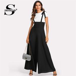 b301faa424 high waist jumpsuits Canada - Sheinside Black Straps Office Ladies Workwear  Elegant Wide Leg Jumpsuit High