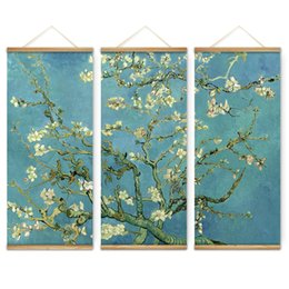 Wholesale Scroll Wall Hangings - 3 Pieces Impressionism Almond Blossom Decoration Wall Art Pictures Canvas Wooden Scroll Paintings For Living Room Ready To Hang