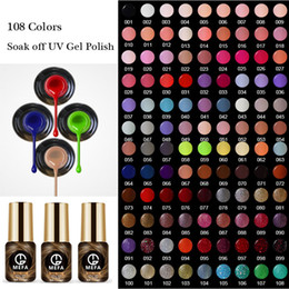 Wholesale Glitter Soak Off Gel Polish - MEFA 20Pcs Lot Pure Color Long Lasting Nail Lacquer 108 Colors Nail Art Glitter Colorful Soak Off UV Gel Polish