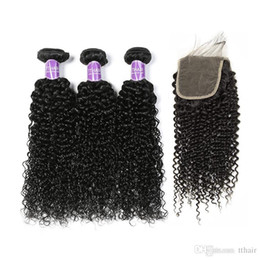 Wholesale Brazillian Natural Wave Hair - Brazillian Kinky Curly Unprocessed peruvian indian Virgin Human Hair 3 Bundles With 4*4 Lace Closure Top Quality Curly Wave Hair Extension