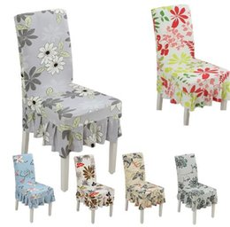 Wholesale Spandex Ruffle Chair Covers - Factory Direct Spandex Floral Pattern Anti-dirty Dining Chair Covers Banquet Weddings Folding Stretch Ruffled Chair Cover Modern Home Decor