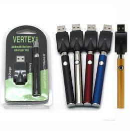 Kit caneta de óleo on-line-Vertex LEI LO VV Kit Carregador de Bateria 350 mAh CO2 Óleo Preaquecimento Bateria E Cigarros Vape Pen Fit 510 Atomizadores Cartuchos de Cookies 3 embalagens