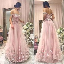 Wholesale vintage butterfly light - 2018 Gorgeous Off Shoulder Prom Dresses Light Pink Luxury 3D Floral Butterfly Lace Beaded Full length Occasion Evening Wear Gowns