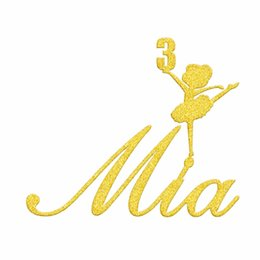 Wholesale Personalized Birthday Cakes - 1pcs Paper Personalized Customized Name Glitter Gold Silver Ballet Cake Topper Baby Shower Girl 1st Birthday Party Decoration