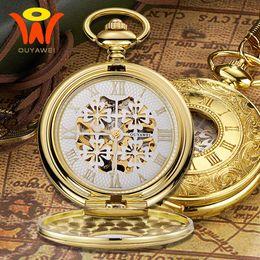 antike taschenuhr fobs Rabatt Montre Vintage Mechanische Herren Taschenuhr Taschenuhr Gold Gehäuse Antike Skelett Halskette Kette Uhr Taschenuhr Anhänger Uhren