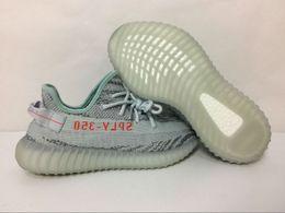 Wholesale Glow Dark Shoe Laces - blue tint SPLY 350 Glow In the Dark Grey With Original Box Keychain Socks Glow Bottom Kanye West Running Shoes Size 36-46