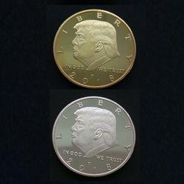 funghi artificiali all'ingrosso Sconti New Trump Commemorative Coin Collezione avatar del Presidente degli Stati Uniti moneta d'oro moneta d'argento Trump avatar Non sbiadita Confezione acrilica.