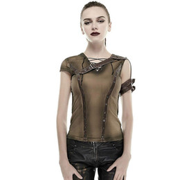 Wholesale Old Women Shirt - Gothic Armor Shoulder Do Old Steam Punk T-shirt Summer Cotton High Quality Tshirts Short Sleeve Tops Vintage Style Clothing