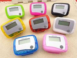 Wholesale Wholesale Single Function Pedometers - Pocket LCD Pedometer mini Step Counter Single Function LCD Pedometers Digital Walking LCD Counters With Package 8 colors available