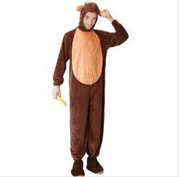 Adulte Singe Costume Pour Hommes Avec Queue Mignon Chaud Épais Cosplay CostumesFleece Animal Vêtements Disfraces Adultes Monkey onesie PS072 ? partir de fabricateur