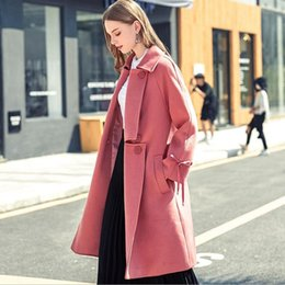 Wholesale Double Collar Coat - 2017 New Winter Wool Coat Women Brick Red Casual Turn-Down Collar Double Breasted Loose X-Long Coat European Style