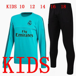 Wholesale Kids Boys Sweaters - Real Madrid kids CHANDAL Kit 17-18 Boy soccer Jersey RONALDO BALE SPORTSWEAR football tracksuit Child jacket training suit pants sweater