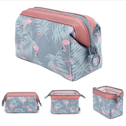 Wholesale Wire Cubes - Flamingo Makeup Bag Travel Cosmetic Pouch Storage Brush Holder Toiletry Bags Fashion Women Waterproof Organizer Case Portable Cube Purse