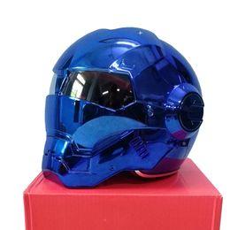 Cromo de hierro online-MASEI 610 electroplate Blue Chrome chapado IRONMAN casco Iron Man casco de la motocicleta media cara abierta casco ABS motocross