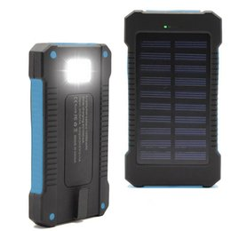 Wholesale Usb Solar Power - Retail and wholesal Waterproof Solar Power Bank 10000mah Dual USB li-Polymer Battery Solar Charger with LED Flashlight for all phone
