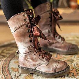 c432e87ca33f vintage damen stiefel Rabatt MCCKLE Plus Size Retro Frauen beiläufige  Plattform Block Heel Mid Kalb Stiefel