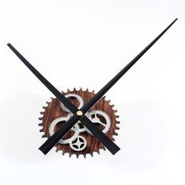 Wholesale Gear Decor - Retro Gear Wall Clock Unique DIY Vintage Imitation Wood Design Stereoscoptic Big Needle Silently Mute Wall Clock for Home Decor