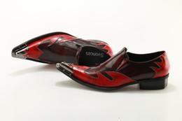 Scarpe a forma di tacco basso online-Svonces Spiked Toe Dress Dress Shoes Uomo tacchi bassi Business Party Shoes in vera pelle rosso scarpe da sposa uomo stile italiano