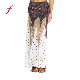 0cffbec35cde1 Women Summer Thai Print Boho Long Maxi Floral Skirt Floral Print Side Slit  Wrap Maxi Skirt Girl Waist Skirts female