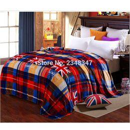 Argentina Moda a cuadros de felpa Franela Fleece manta fina doble / completo / Queen / King Size cama / sofá / cubierta de aire rojo azul bandera de Inglaterra cheap blue plaid bedding queen size Suministro