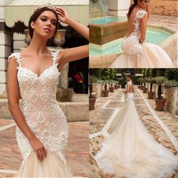 Wholesale custom fit flare dresses - Vintage Champagne Designer Mermaid Wedding Dresses 2018 Lace Crystal Bridal Embellished Bodice Sleeveless Fit Flare Backless Bridal Gowns