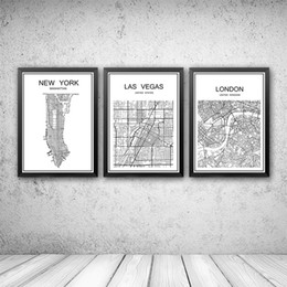 Wholesale Famous Posters - World famous City map Abstract poster art kraft paper Cafe bar poster Retro sketch art decor painting wall sticker 42x30cm