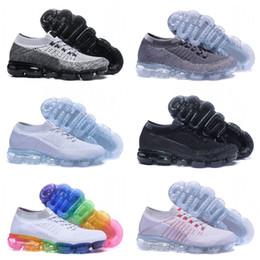 Wholesale New Style Flat Shoes - With box Vapormax Mens Running Shoes 2018 moc black belt New style For Men Sneakers Women Fashion Athletic Sports Shoes Walking Outdoor Shoe