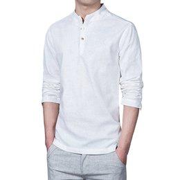ec7c3c49248 Discount plus size mandarin collar shirt - 2018 Fashion Long Sleeve Men's  Shirts Male Casual Linen