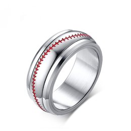 2019 accesorios de hilandero Spinner Baseball Anillos para hombres 8MM Stainless Steel Men's Jewelry Anillos de amistad Male Boy Team Sports Accessories Ring Size 8-12 rebajas accesorios de hilandero