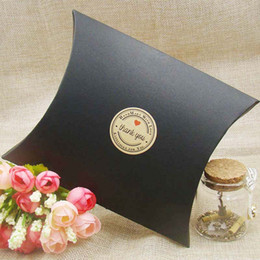 Wholesale Candy Shaped Pillows - Wedding Gift Boxes 30pcs New Style black Kraft white Pillow Shape Wedding Favor Gift Box ,Party Candy Box festival Supplies