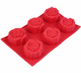 Wholesale Rose Soap Mould - 6 Holes Silicone Rose Shape Cake Mould Fondant DIY Jelly Soap Baking Tools