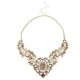 Bijou schmuck online-Europäische Vintage Luxuriöse Kragenkette Bronze Spitze Carving Blume Kette Choker Halskette Hochzeit Bijou Anhänger Schmuck