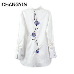 Wholesale Ol Blouse Plus Size - CHANGYIN 2018 Spring Shirt Women Plus Size Floral Embroidery OL Long Sleeve Loose Work Wear White Blouses Feminine