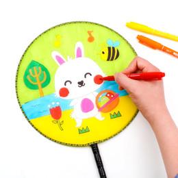 Blanc Blanc Ventilateur Rond Manche En Bois Kidgarden Art Classe Gland Enfants Enfants DIY Peinture Formation Art Peinture Amusement Chinois Fans De La Main ? partir de fabricateur