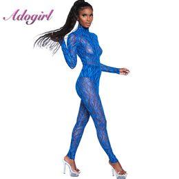 66bbd2c0cc Mesh Sheer Print Sexy Jumpsuit Turtleneck Long Sleeve Women Skinny Overalls  See Through Bodysuit Blue Playsuit