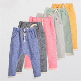 Wholesale Loose Pants For Kid Girls - Kids spring autumn cotton Harem pants 6 colors 5 sizes for 2-8T boys girls children causal sports pants trousers B11