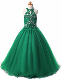 Glitz Girls Pageant Dresses Keyhole Back Liste di cristalli Halter Kids Ball Gown Prom Dress Abiti pageant per ragazze Flower Girl Dresses da