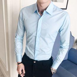 2019 instalador de ropa de trabajo Color sólido Ropa de hombre Slim Fit Hombre Camisa de vestir de boda de trabajo de manga larga Camisa social informal Sin arrugas instalador de ropa de trabajo baratos